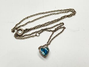 VINTAGE SOLID STERLING SILVER TURQUOISE LOVE HEART DAINTY LADIES NECKLACE