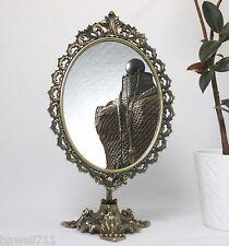 Standspiegel Metall Messing Optik Kippspiegel Schminkspiegel 50 cm Tischspiegel