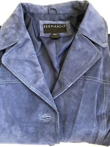 Beautiful Blue Bernardo Suede Leather Jacket.  Size L