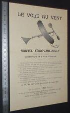 FEUILLET PUB 1910-1914 Ets KRATZ-BOUSSAC PARIS AEROPLANE-JOUET VOLE AU VENT