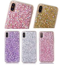 iPhone X / XS / 10S - TPU RUBBER GUMMY GEL CASE COVER SHINY GLITTER SEQUIN BLING