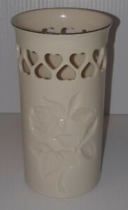 Lenox Pierced Hearts & Roses Vase Silver Trim Special