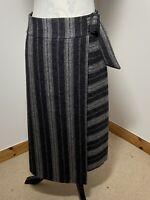 Laura Ashley NWOT Wool Knee Length Wrap Skirt Size 12 Black Grey Pencil Striped