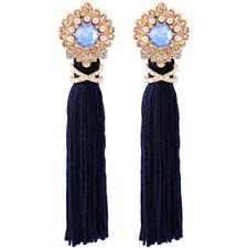 orecchini Dorato Pompon Tassel Lungo Blu Navy Cristallo Mini Perla XX25