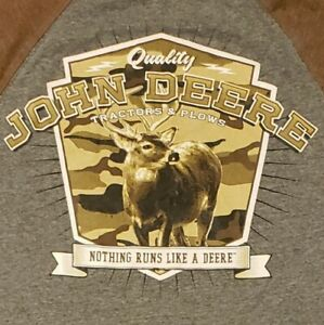 John Deere T-Shirt Large Tractor Company Contrasting Collar & Sleeves