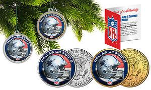 DALLAS COWBOYS Christmas Tree Ornaments JFK Half Dollar US 2-Coin Set NFL