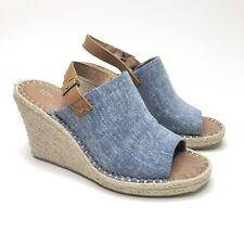 "Toms Size 9 Blue Peep Toe Espadrille Wedges 4"" Heels"