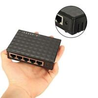DC 5V 5-Port 10/100/100Mbps Fast LAN Ethernet Network Switch HUB Desktop Adapter