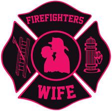 "Firefighter Stickers - Fire Wife 4"" Maltese Sticker Maltese Decal"