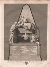1795 ANTIQUE PRINT - WORCESTER CATHEDRAL-MONUMENT OF BISHOP HOUGH