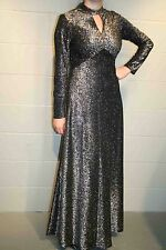 S Vtg 70s Keyhole Silver Black Metallic Knit Maxi Cocktail Party Prom Dress Gown