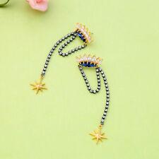 Eyes Crown Star Tassel P2 Earrings Nails Gold Plated Blue Zircon