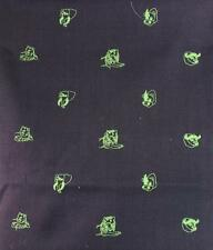 """Fab Chipp Irish Moygashel Linen Fabric w/ Lime 'Big Game' Animal Embroidery"""