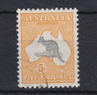 K1262) Australia 1929 5/- Grey & yellow-orange Kangaroo small multiple watermark