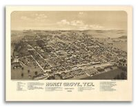 1886 Honey Grove Texas Vintage Old Panoramic City Map - 20x28