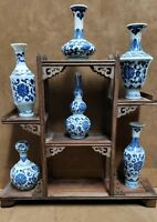 ANTIQUE GIFT SET (Classic White and Blue Porcelain Vase of 6 &Wood stand )