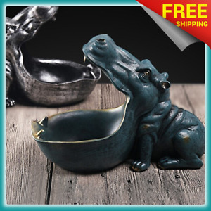 Hippopotamus Bowl Statue Modern Hippo Home Decoration Decor Storage Phone Key