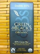 GREEN & BLACK'S ORGANIC Dark Chocolate 85% TRINITARIO CACAO BEAN 3.5 Ounce Bar