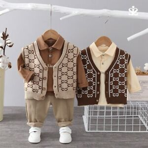 Boys Lattice Coat Long sleeves Polo shirt+Trousers Kids Casual Sweater Set 3PCS