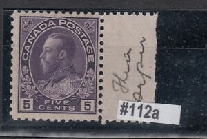 1911-25 #112a 5¢ KING GEORGE V ADMIRAL ISSUE  THIN PAPER WET PRINTING  F-VFNH