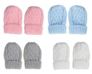 Baby Boy Girl Chevron Knitted Mittens Gloves Turnover Warm Newborn 0-12 Months