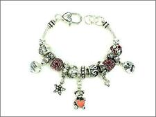 Silver Tone Charm Bracelet With Pink Rhinestone Beads and Teddy Mom Theme Charms