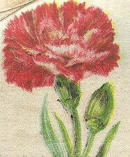 Vintage antique silk applique - use in crazy quilt block - Flower: Carnation