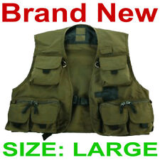 """New Allen Grand River Green Poly-Cotton Fishing Vest,Size Large/L,48"""" Chest"""