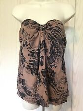 FREE PEOPLE Strapless Soft Knit BOHO Print FESTIVAL Drape Top S