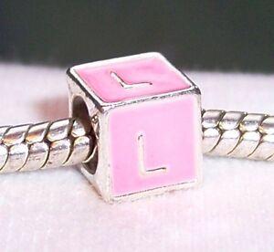Letter L Initial Pink Enamel Alphabet Cube Spacer Charm for European Bracelets