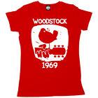 WOODSTOCK 1969 VINTAGE WOMENS IMPRIMÉ CLASSIQUE FESTIVAL MUSIQUE T-SHIRT