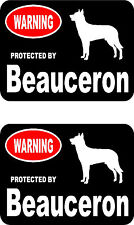 2 protected by Beauceron dog car bumper home window vinyl decals stickers