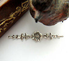 ANTIQUE SILVER (3 Pieces) Victorian Floral Bar Spray Flower Stamping (FA-6064)