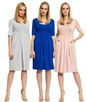 Damen Mittellanges Kleid Dress Abendkleid Rundhalsausschnitt mit Raffungen Gr. S