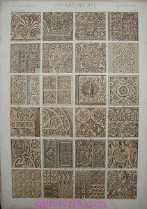 LITHOGRAVURE Owen JONES - GRAMMAIRE DE L'ORNEMENT 1868 Planche XXVIII BYZANTINS