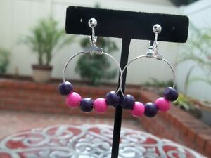 Lovely Purple, Pink Round Wood Beads on Hoop Dangling Clip On Earrings