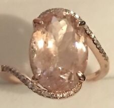 5.80CT ! Natural Oval Cut Morganite & Real  Diamonds 14K Solid Rose Gold  Ring