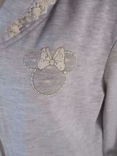Disney Minnie Mouse Womens Small Gray Long Sleeve Zip Hoodie Coat Jacket CB34R