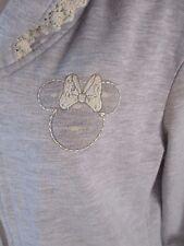 Disney Minnie Mouse Womens Small Gray Long Sleeve Zip Hoodie Coat Jacket CB34R
