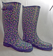 Old Navy Floral Rain Boot Size: Adult Medium Blue with Pink, White Green Flowers