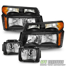 Black 2004-2012 Chevy Colorado Gmc Canyon Headlights Headlamps+Fog Lights Lamps (Fits: Gmc)