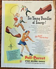 Poll Parrot shoes illustrated ad 1945 orig vintage print 1940s retro art fashion