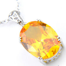 Natural Square Shaped Yellow Brazil Citrine Gems Silver Heart Necklace Pendant