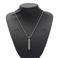Silver Tube Memorial Urn Cremation Charm Pendant Necklace Keepsake Ash Holder CN