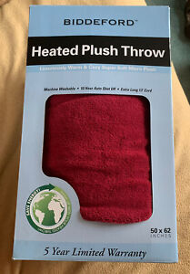 Biddeford Heated Plush Throw Blanket 50x62 In Red New