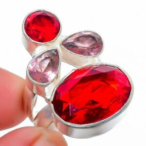 Mozambique Garnet & Amethyst 925 Sterling Silver Jewelry Ring s.7.5 F2584