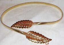 "Vintage Gold Plated Coil Snake Stretch Disco Glam Belt Fall Leaf Buckle 26""-34"""