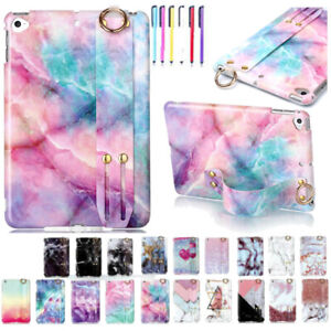 Soft Glossy Marble Case Hand Strap Stand Cover For iPad 9.7 Mini 2 3 4 5 Air Pro