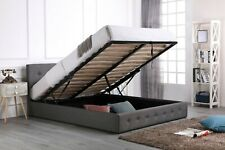6FT SUPER KING GREY FABRIC LOW END GAS LIFT OTTOMAN BED - MATTRESS AVAILABLE