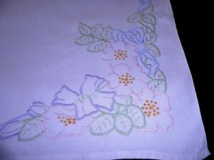 """VINTAGE TABLE CLOTH with HAND WORKED FLORAL EMBROIDERY 44"""" by 44"""""""